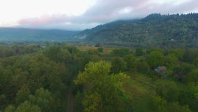 Aerial: flight in Carpathians early morning before sunrise. Aerial: flight in Carpathians early morning before sunrise stock video