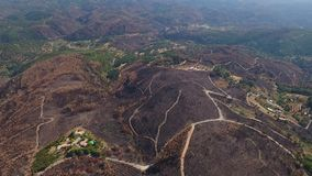 Aerial. Flight of the drone over the burnt land. Portugal Monchique. Algarve stock footage