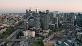 Aerial perspective over interstate 5 in downtown Seattle Washington
