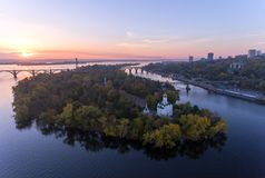 Aerial Flight over the Christian Church in the Monastic island, Dnepr City, Ukraine Dnipro, Dnepropetrovsk. Beautiful autumn on the River Dnieper, Christian stock photo