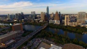 Aerial Flight Over The Colorado River Austin Texas stock footage