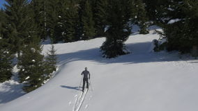 Aerial - Flight over cross-country skier stock footage