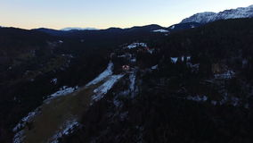 Aerial flight over fog forest with mountains on bg stock video footage