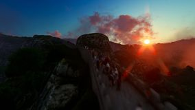 Aerial flight over Great wall of China filled with turists, sunrise. Hd video stock footage