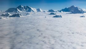 Mount Everest and the Himalayas in Sep 2017. Aerial flight over the Himalayas and Mount Everest in September 22 of 2017 Stock Photos