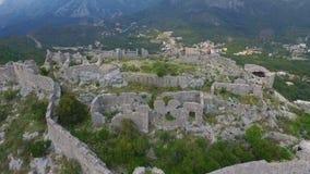 Aerial: Flight over a mediaeval fortress. Haj Nehaj Montenegro stock footage