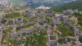 Aerial: Flight over a mediaeval fortress. Haj Nehaj Montenegro stock video