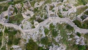 Aerial: Flight over a mediaeval fortress. Haj Nehaj Montenegro stock video footage