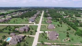 Aerial flight over neighborhood.