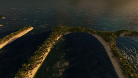 Aerial flight over a palm trees island to reveal Summer shape. Hd video stock video footage