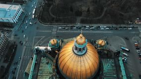 Aerial flight over St. Isaac`s Cathedral from above. The historical center of St. Petersburg. Awesome flight over the stock video