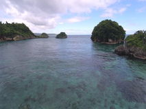 Aerial flight  over tropical beach and waves. Boracay island, Philippines stock video footage