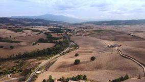 Aerial Flight Over Tuscany Fields. Drone video - Aerial Flight Over Tuscany Fields stock footage