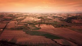 Aerial flight over Tuscany fields. Drone video - aerial flight over Tuscany fields stock video footage
