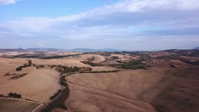 Aerial Flight Over Tuscany Fields. Drone video - Aerial Flight Over Tuscany Fields stock video