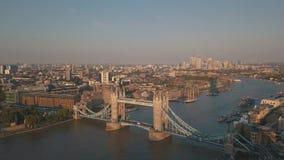 AERIAL: Flight towards The Shard, London Skyline at Sunshine