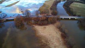 Aerial flight view Lithuania road near Jurbarkas tide time stock footage