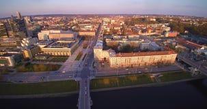 Aerial flight in Vilnius stock video footage