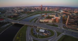 Aerial flight in Vilnius stock video
