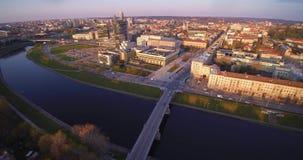 Aerial flight in Vilnius stock footage