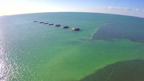Aerial florida Keys old bridge Stock Photos