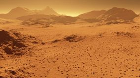 Aerial fly over martian red planet landscape