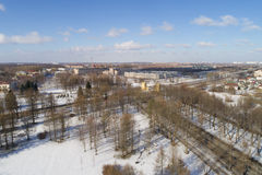 Aerial fly over spring Saint-Petersburg suburb Pushkin town view on streets daytime Royalty Free Stock Photo