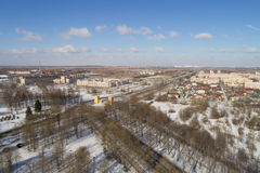 Aerial fly over spring Saint-Petersburg suburb Pushkin town view on streets daytime Royalty Free Stock Images