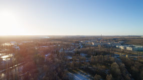 Aerial fly over spring Saint-Petersburg suburb Pushkin town view on streets in sunset Stock Image