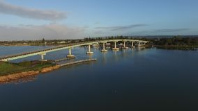Aerial fly pass Hindmarsh Island bridge Goolwa stock video footage