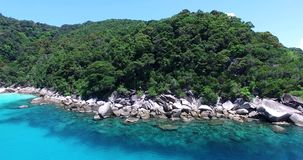 Aerial fly in of Perhentian island stock footage