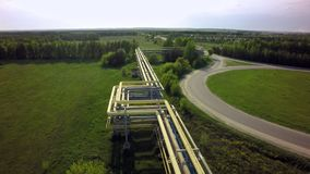 AERIAL: fly on Pipeline transportation equipment.  Stock Image