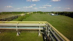 AERIAL: fly on Pipeline transportation equipment.  Stock Images