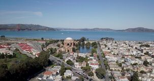 Aerial fly up view of the Palace of Fine Arts