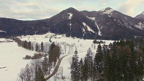 Aerial: Flying Above Winter Lake In Jezersko, Slovenia stock video footage
