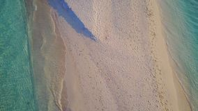 P02203 Aerial flying drone view of Maldives white sandy beach on sunny tropical paradise island with aqua blue sea water Stock Photos