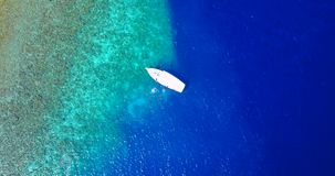 Aerial flying drone view of Maldives white sandy beach on sunny tropical paradise island with aqua blue sky sea stock video footage