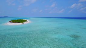 P02328 Aerial flying drone view of Maldives white sandy beach on sunny tropical paradise island with aqua blue sky sea Royalty Free Stock Photography