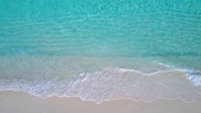P02705 Aerial flying drone view of Maldives white sandy beach on sunny tropical paradise island with aqua blue sky sea Stock Photography