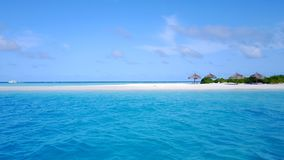P02356 Aerial flying drone view of Maldives white sandy beach on sunny tropical paradise island with aqua blue sky sea Stock Photography
