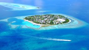Aerial flying drone view of Rasdhoo Maldives white sandy beach on sunny tropical paradise island with aqua blue Royalty Free Stock Image