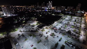 Aerial flying over the city at night stock video