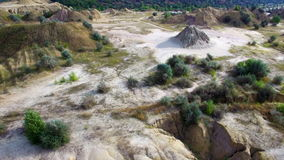 Aerial: flying over the sand desert, south Ukraine stock footage