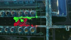 Aerial flying panorama over chemical plant with advent of poisonous toxic air and gas. Motion design infographics