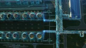 Aerial flying panorama over chemical plant with motion design infographics elements. Energy gas flow concept pipes and