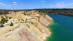 Aerial: flying in sand canyon, south Ukraine stock video footage