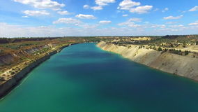 Aerial: flying in sand canyon, south Ukraine stock video