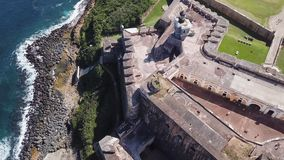 Aerial flyover of the El Morro fort in San Juan, Puerto Rico. stock video
