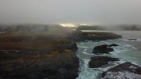 Aerial of Fog, Ocean, and Seashore in California stock video