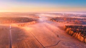 Aerial foggy rural landscape. Sunny misty morning stock image